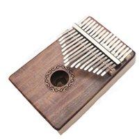 libro del cuerpo al por mayor-17 teclas Kalimba Thumb Piano Solid KOA Body con libro de aprendizaje, Tune Hammer