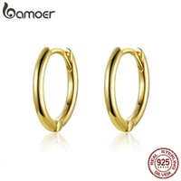 Wholesale circle earrings 925 sterling resale online - BAMOER Classic New Sterling Silver Simple Round Circle Stud Earrings for Women Fashion Jewelry SCE558