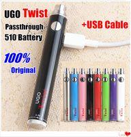 vape ego c achat en gros de-Authentique nouvelle batterie EVOD VV UGO Twist 510 filetage Vape + chargeur USB Kit Vision Spin II Tension Variable 3.3 ~ 4.8V Stylos Vaper Oil eGo C Twist