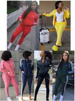 Wholesale racing pockets resale online - Womens Tracksuit piece set outfits sportswear jacket pants Jogging Sports long sleeves cardigan pants Suits sweatshirt Clubwear hot2133