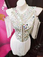 collant bege venda por atacado-2019 Espelho de Moda Pedrinhas Outfit cantora DJ show de palco Silver White Franjas Bodysuit ds traje de Desempenho