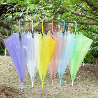 Wholesale see umbrella resale online - New Wedding Favor Colorful Clear PVC Umbrella Long Handle Rain Sun Umbrella See Through Umbrella