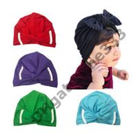 tığ bebeği bonnetleri toptan satış-Bebek kız saç yay şapkalar yenidoğan tığ beanie şapka yürüyor çocuk örgü saç aksesuarları bebek çocuk kaput bebek Yaz pamuk fotoğrafçılık caps