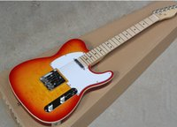 Wholesale cherry guitar factory resale online - standard Factory Cherry Sunburst Electric Guitar with Clouds Maple Veneer White Pickguard Binding Body Chrome Hardware Can be customized