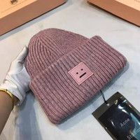 Wholesale american beanies resale online - Designer hat hip hop casual European and American fashion street knit hats men and women embroidery hats winter new smiling face