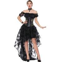 korseler bluzlar toptan satış-Kadın Cadılar Bayramı Burlesque Korse Elbise 3 adet Set Parti Kıyafet Sheer Çiçek Dantel Bluz ve Hi-lo Uzun Etek Mesh Underbust Korse S-XXL
