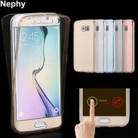 samsung s6 прозрачный мобильный кейс оптовых-Nephy Мобильный телефон чехол для Samsung Galaxy S4 S5 S6 S7 края S 4 5 6 7 Neo Duos крышка Clear кремния TPU Ультратонкий корпус Etui сумка