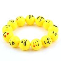 ingrosso bracciale in vita-Bracciale perline Emoji giallo Bracciale per viso sorriso Bracciale bangle per capelli Carino cinturino per bambini