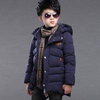 куртки для мальчиков оптовых-Розничная 2018 зима новые мальчики мода хлопок пальто дети длинная куртка сгущаться открытый теплый с капюшоном дети ветрозащитный верхняя одежда