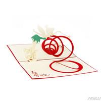 kart kalp 3d açılır toptan satış-3D Pop Up Tebrik Kartları Yaratıcı Hollow Melek Kalp El Yapımı Kağıt Oyma Zanaat Carte Postale Artesanato Origami Z03