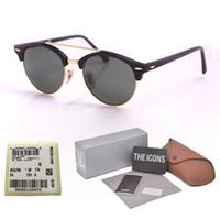 anteojos medio marco hombres al por mayor-Nueva llegada diseñador de la marca Cat Eye Sunglasses hombres mujeres Half Frame gafas de sol con lentes de vidrio UV400 con empaque y etiqueta al por menor