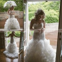 Wholesale waves image online - Plus Size Crystal Pearls Backless Wedding Dresses Tiered Skirts Beads Mermaid Bridal Gowns Fishtail Wedding Dress Custom Made Vestidos