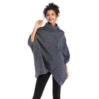 свитер с воротником из батута оптовых-Серый водолазка перемычка пончо Femme Мыс свитер три четверти Batwing рукавом женщин зимние вязаные свитера и пуловеры