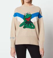 ingrosso le rane della signora-2018 French Frog Animal Print Maniche lunghe Girocollo Lady Donna Maglioni N25 Autunno Inverno Maglioni di sabbia