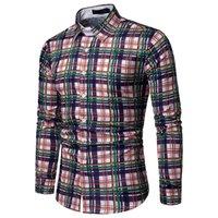 satış artı boyutu bluzlar toptan satış-Sıcak Satış Renkli Çizgili Gömlek Yüksek Sokak Erkek Ekose Uzun Kollu Yakışıklı Erkek Kulübü Giyim Kareli Bluz Artı Boyutu