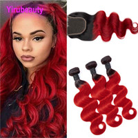Wholesale three colors ombre hair resale online - Peruvian Human Hair Pieces B Red Body Wave Bundles With X4 Lace Closure With Baby Hair Middle Three Free Part Body Wave B Red