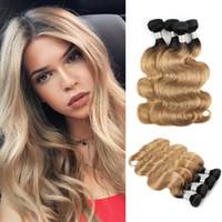 Wholesale human hair weave honey brown for sale - Ombre Human Hair Bundles Honey Blonde Color B Body Wave Brazilian Virgin Hair Bundles inch Remy Human Hair Extensions