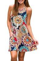 ingrosso abbigliamento boho-Nuova moda sexy abiti casual donne estate senza maniche partito di sera Beach Dress breve chiffon Mini Dress BOHO Womens Abbigliamento Apparel