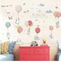 ingrosso case a farfalla per bambini-Cartone animato fai da te super carino palloncino coniglio adesivo da parete per camera dei bambini uccelli nuvola arredamento mobili guardaroba camera da letto decalcomania soggiorno