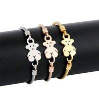 ingrosso braccialetto del braccialetto dell'orso-Vendita calda Design semplice Animal Bear Shape Bangle Bracciale in acciaio inossidabile color oro rosa dorato per le donne