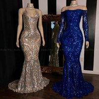 Wholesale formal prom african dresses for sale - Group buy Glit Sequined Champagne Mermaid African Prom Dresses Royal Blue Long Sleeve Reflective Formal Dress Plus Size Evening Gowns