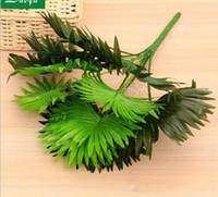 поддельный цветок лист оптовых-Садово-парковая отделка Fan Fan Leaf Искусственные цветы и цветы из шелка путем имитации зеленых растений