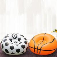 flocado para el sofá al por mayor-Flocando Inflación Fútbol Baloncesto Sofá PVC Tamaño pequeño Apartamento Muebles para el hogar Sofá Solo Persona Sencillo Suave Creativo Sofás 32pgD1