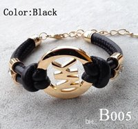 hombres pulseras de múltiples capas al por mayor-Damas Charm Bracelet Handmade Retro PU Leather Bracelet Hombres Mujeres Joyería de Moda Cadena de Oro Pulsera de Múltiples Capas de Cuero B005
