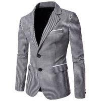 erkek uzun elbiseler toptan satış-Ekose Baskı Rahat Erkekler Blazer Moda Uzun Kollu Gelinlik Ceket Resmi Veste Kostüm İş Erkek Blazer Ceket