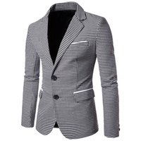 hochzeitskleid kostüm für männer großhandel-Plaid Print Casual Men Blazer Fashion Langarm Brautkleid Mantel Formal Veste Kostüm Business Mens Blazer Jacke