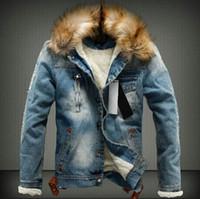 меховой пиджак оптовых-Мужские зимние джинсовые куртки Осень Толстая меховая дизайнерские пальто с длинными рукавами однобортный пиджак