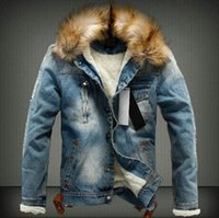 mens lange pelzjacke groihandel-Mens Washed Winter Jean Jacken Herbst Dickes Fell Designer Mäntel Langarm Einreiher Jacke