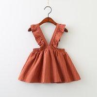 kızlar için şerit elbisesi toptan satış-Yeni bebek kız şerit askı elbise 2019 İlkbahar Sonbahar çocuk Fırfır kayış elbise Butik moda çocuk giyim 2 renkler C5782