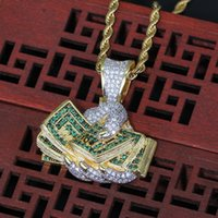 Wholesale money rope for sale – best New Iced Out Hand with Money Dollar Gold Pendant Necklace With Rope chain Cubic Zircon Men s Hip hop Rock Jewelry