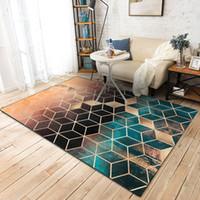 alfombras de arrastre al por mayor-Alfombras modernas Alfombras de patrón geométrico Nordic Sencilla sala de estar Mesa de café Habitación Dormitorio Alfombra de piso Alfombra para niños Estera de arrastre