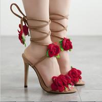 удобная обувь красная свадьба оптовых-Новая мода женские высокие каблуки Красный Цветок Мягкие и удобные Ненависть Женская Обувь Stiletto высокий каблук свадебные Летние Туфли высота 11.5 см