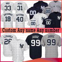camisetas de béisbol de poliéster al por mayor-JUEZ Custom Yankees Jersey 26 DJ LEMAHIEU 25 GLEYBER TORRES 18 DIDI GREGORIUS 45 LUCAS VOIT Jersey Baseball 54 Aroldis CHAPMAN 99 ARON