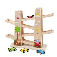 coche de juguete de madera diy al por mayor-Zalami Baby Kids Click Clack Hipódromo Bosque de madera Coches de carreras Interacción entre padres e hijos Zig Coches de carreras Juguete de regalo Con 4 coches Diy J190525