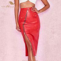 roter kunstlederrock großhandel-SISHION Faux Pu Leder Röcke Womens 2019 Reißverschluss Split Pockets Red QY0049 Skinny Wrap Midi Rock Pencil Damen Sexy Rock