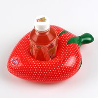 Wholesale apple cups resale online - New Strawberry Cups Holder Inflatable Floats Tubes Fruit Coaster Pool Toys Apple Cherry Shaped Water Sports Swimming Products dqG1