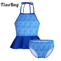 biquini azul dos miúdos venda por atacado-TiaoBug Crianças Adolescentes Maiô Azul Sereia Escala Impresso Peplum Tops com Shorts Bikini Set Meninas Tankini Beachwear Maiô