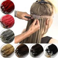 extensiones micro del anillo del lazo del color al por mayor-14-26 pulgadas 100 unids Real Hair Easy Loop / Micro anillo perlas Extensiones de cabello de las mujeres recta larga