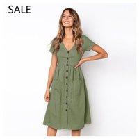 kız boyunları tasarımı toptan satış-Kadın Elbise Ile Rahat Tarzı V Boyun Botton Cep Bayanlar Elbise Eğlence Tasarım Yaz kızın Günlük Elbise