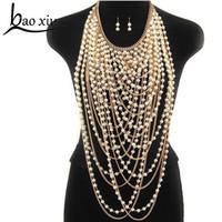 larga cadena de oro perla al por mayor-2018 Exagerado con cuentas súper largos colgantes collar mujeres moda perla gargantilla collar joyería del cuerpo cadena de hombro de oro / plata C18122801