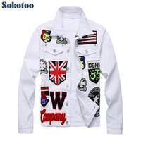 casacos bandeira s venda por atacado-Sokotoo dos homens Inglês bandeira crânio bordado jaqueta de brim branco letras Na Moda distintivo manga longa casaco stretch Patchwork outerwear