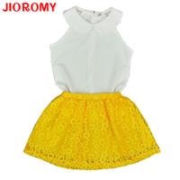 top bebé amarillo al por mayor-Jioromy 2019girls Sets Kid bebé sin mangas cuello redondo Top + amarillo faldas de encaje traje niñas trajes princesa Girls Conjuntos de ropa Y190518
