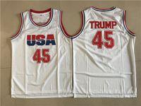 kostenlos ein s großhandel-Mens 45 Donald Trump Film Basketball Jersey USA Dream Team One Fashion 100% genäht Basketball Shirts Weiß Versandkostenfrei