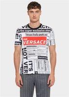 etiquetas redondas al por mayor-Luz blanca 19SS marca de moda nueva camiseta de los hombres etiqueta de hip-hop diseño de impresión grande algodón pequeño cuello redondo manga corta hombres manga corta