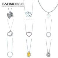 pulseras conmemorativas al por mayor-Joyería de moda FAHMI Charm 925 de plata del amor del centelleo de lágrima de incrustaciones de circonio Sun collar de las mujeres originales Memorial Day TIF