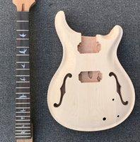 diy e-gitarre solide großhandel-Massives Ahornoberteil Neue Art E-Gitarren-Kit mit F-Löchern, ohne Lackierung ohne Gitarrenteile, DIY-Gitarre